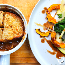 French Onion Soup + Roasted Winter Squash Salad