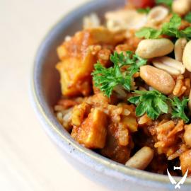 African Peanut Sweet Potato Stew+Coconut Rice